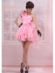 Pink One Shoulder A-line Mini-length Hand Made Flowers Stylish Customize Prom Gowns