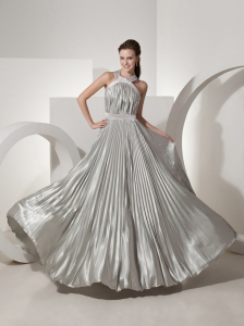 Pleat Decorate Halter Neckline Silver Prom Dress