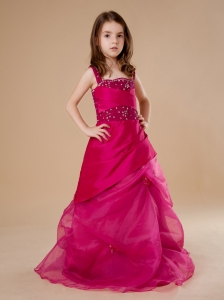 Red A-Line Sequins Flower Girl Dress For 2013 Taffeta Straps Floor-length