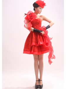 Red One Shoulder Handle-Made Flowers Organza A-Line / Princess Mini-length Prom Dress