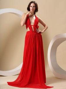 Red Special Prom Dress With Halter High-Slit