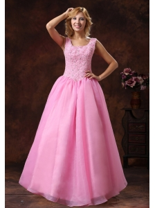 Rose Pink Wide Scoop Lace-up Princess Prom Dress For Party Appliques Decorate