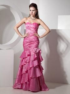 Ruch and Ruffled Layers Mermaid Appliques Sweetheart Neckline Floor-length 2013 Prom / Evening Dress