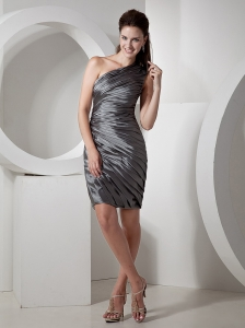 Ruched Decorate Bodice One Shoulder Knee-length Grey Column 2013 Prom / Cocktail Dress