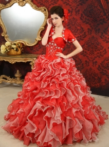 Ruffles Beading Sweetheart Organza Brush / Sweep Red Quinceanera Dress
