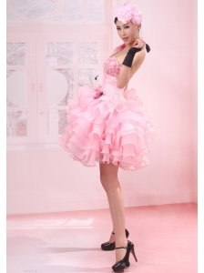 Ruffles One Shoulder A-Line / Princess Organza Mini-length Pink Prom Dress
