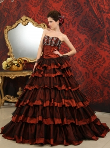 Rust Red And Black A-line Court Train Sweetheart Taffeta and Tulle Ruffles Quinceanera Dress