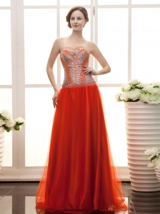 Rust Red Paillette Over Skirt Sweetheart Gorgeous Prom Gowns For 2013 Custom Made