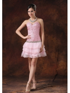 Sequin and Tulle Sweetheart Neckline Mini-length Beaded Decorate Waist 2013 Prom / Homecoming Dress