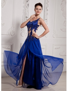 Sexy Peacock blue  Prom Dress Empire One Shoulder Beading Chiffon Beading