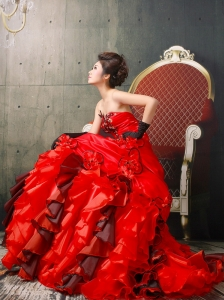 Sexy Red Ruffles Strapless 2013 Quinceanera Dress With Hand Made Flowers