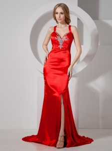 Sexy Red Slit Prom Dress With Beaded Decorate With Brush Train