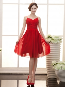 Spaghetti Straps Red Chiffon Empire Knee-length Elegant Prom Gowns For 2013 Custom Made