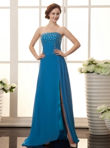 Strapless High Slit Bodice Chiffon Beaded Stylish Custom Made Prom Gowns