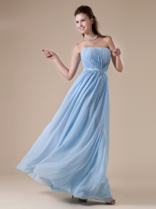 Strapless Neckline Baby Blue Prom Dress With Ruch Decorate Chiffon
