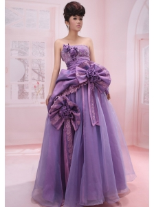 Strapless Organza Beading and Handle-Made Flowers Lilac 2013 Prom Dress A-Line / Princess