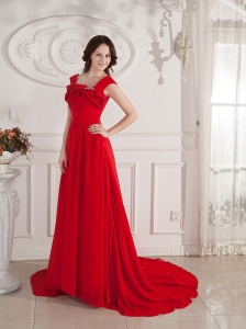 Straps Beading Chiffon Red For Prom Dress Custom Made