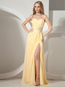 Sweetheart Neckline High Slit Yellow Prom Dress