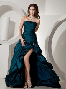 Turquoise High Slit Beading Strapless Brush Train Taffeta Pick-ups and Ruch 2013 Prom / Evening Dress