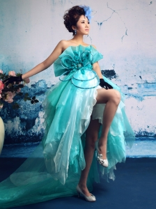 Turquoise Organza Hand Made Flowers Strapless Stylish 2013 Celebrity Prom Gowns