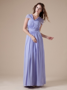 V-neck Lilac Chiffon Ruch Ankle-length Simple Style 2013 Prom / Evening Dress