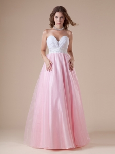White and Baby Pink Sweetheart Beaded Decorate Waist Prom Dress For Custom Made