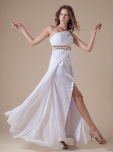 White High Slit One Shoulder Chiffon Beaded Decorate Waist Prom Dress