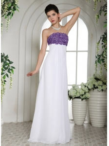 White Simple Beaded Decorate Bust Prom Dress With Strapless