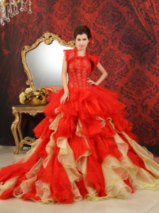 2013 Ruffled Appliques With Beading For Red and Champagne Quinceanera Dress With Jacket Chapel Train
