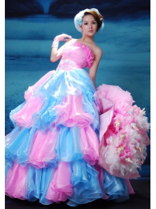 A-Line / Princess Pink and Aqua Blue Organza Floor-length Strapless Beading Prom Dress