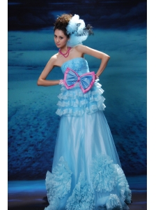 Appliques With Beading Decorate Bust Bowknot Ruffled Layers Strapless Floor-length Aqua Blue 2013 Prom / Evening Dress