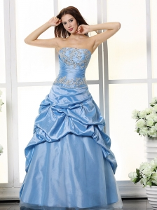 Aqua Blue Appliques Bodice and Pick-ups For Prom Dress