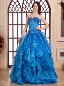 Aqua Blue Embroidery Biduce and Ruffles For Quinceanera Dress