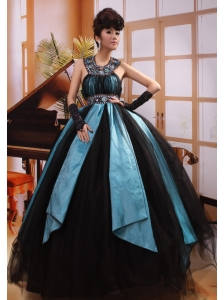 Ball Gown Halter Top Floor-length Black Tulle Beaded Decorate Neckline 2013 Quinceanera Dress Hottest