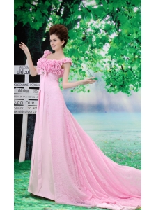 Bbay Pink White Flowers Decorate Prom Dress With Lace Sequare Neckline