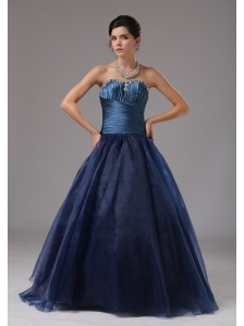 Beaded Decorate A-line Navy Blue Strapless Organza Prom Dress