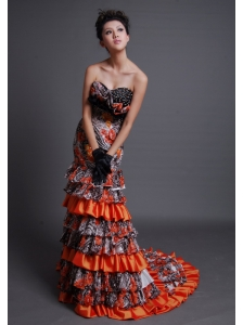 Beaded Decorate Bodice Sweetheart Neckline Printing and Taffeta Brush Train Mermaid Prom / Evening Dress For 2013