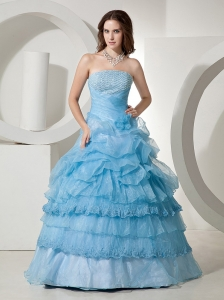 Beaded Decorate Bust and Ruffled Layers For Quinceanera Dress