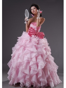Beaded Decorate Strapless Bowknot Ruffles Floor-length Baby Pink 2013 Quinceanera Dress