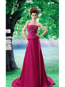 Beading Chiffon A-Line Fuchsia Court Train Strapless Prom Dress