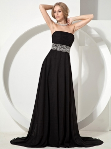 Black Custom Made Evening Dress Hot With Beaded Decorate Waist Chiffon Brush Train