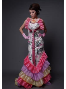 Bloomington Straps Organza Multi-color Brush Train Hand Made Flower Beading 2013 Prom / Evening Dress