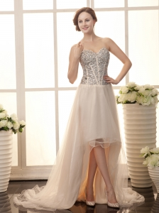Champagne Tulle Rhinestone Decorate Bodice Sweetheart Neck Court Train 2013 Prom Gowns