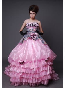 Hand Made Flowers Printing and Organza Ruffled Layers Court Train Exclusive Style For 2013 Quinceanera dress