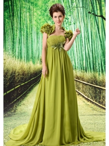 Custom Made Olive Green 2013 Prom Dress Hand Made Flower and Ruch In Graduation
