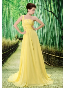 Custom Made Yellow One Shoulder Appliques Prom Dress Beaded Decorate Bust In Formal Evening