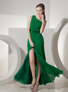 Dark Green Prom Dress One Shoulder High Slit Empire Chiffon Beading