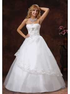 Embroidery and Beading Decorate Bodice Strapless Floor-length Tulle and Taffeta A-line 2013 Wedding Dress