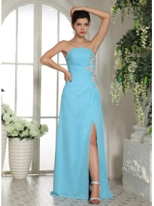 Empire High Slit Baby Blue 2013 Prom Dress With Ruch and Appliques