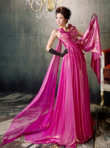 Fuchsia Hand Made Flowers Watteau Train Prom / Evening Dress Silk Like Satin